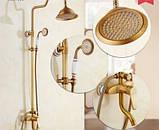 Душевая стойка для ванной комнаты с верхним душем со смесителем краном и лейкой бронза, фото 3