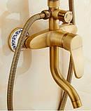 Душевая стойка для ванной комнаты с верхним душем со смесителем краном и лейкой бронза, фото 4