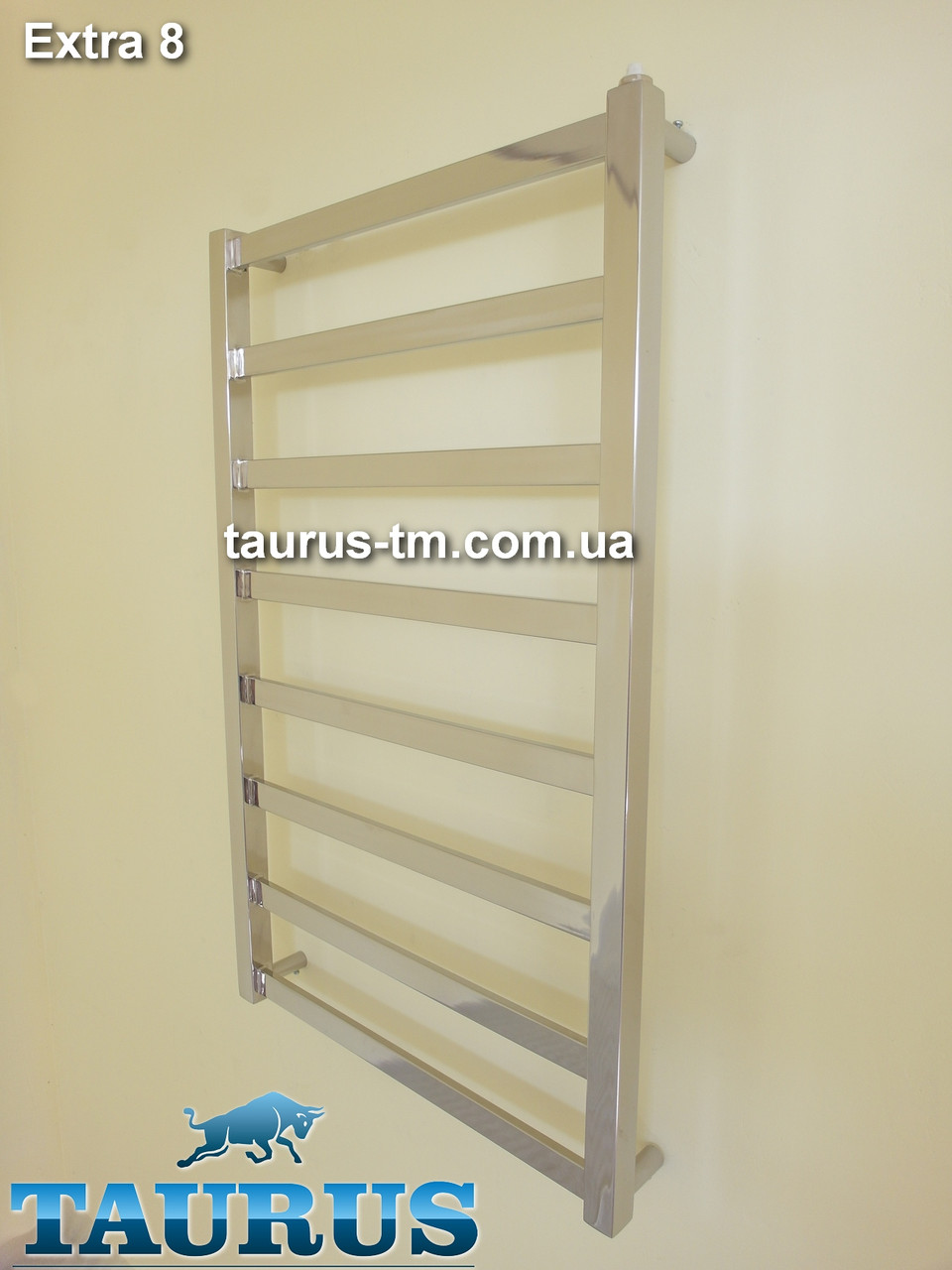 Узенький полотенцесушитель н/ж - Extra 8 перемычек / 850х400мм. Плоский, строгий дизайн от TAURUS
