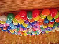 Шарики надутые гелием под потолок, цвета в ассортименте