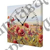 Часы на холсте Маки UKR015
