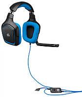 Наушники с микрофоном LOGITECH G430, 981-000537, мониторы, черный / голубой