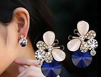 Стильные позолоченные серьги  Красота бабочки с австрийскими кристаллами   розовое золото 750 проба