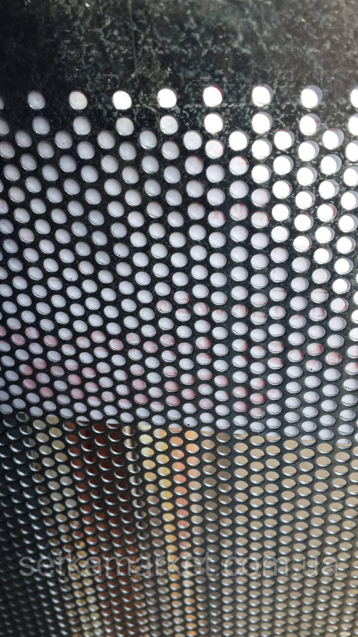 Перфорированный Лист (Полотно решетное), чёрный металл, толщина 1.0 мм, ячейка 12 мм.