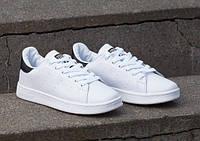 Мужски кроссовки adidas Stan Smith, белые с черными вставками, материал - кожа, подошва - резина+полиуретан