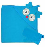 Уголок  для купания бирюзового цвета с вышивкой совы.
