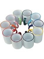 Чашки с цветной каймой с полноцветной печатью