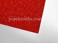 Фоам 1 мм 20*30 см на клейовій основі з глітером  червоний