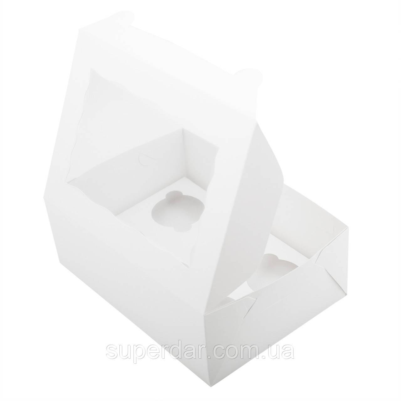 Коробка для 6 капкейков с окошком и со вставкой, самосборная 255х180х90 мм.