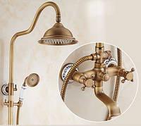 Душевая стойка колона для ванной комнаты с верхним душем со смесителем краном и лейкой бронза