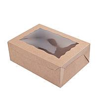 Коробка для 6 капкейков с окошком и со вставкой, самосборная 255х180х90 мм., крафт