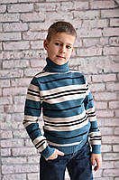 """Свитер """"Гольф"""" Many&Many для мальчика бирюзовый с полосами."""
