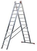 Лестница алюминиевая 2-х секционная универсальная раскладная 6 ступеней
