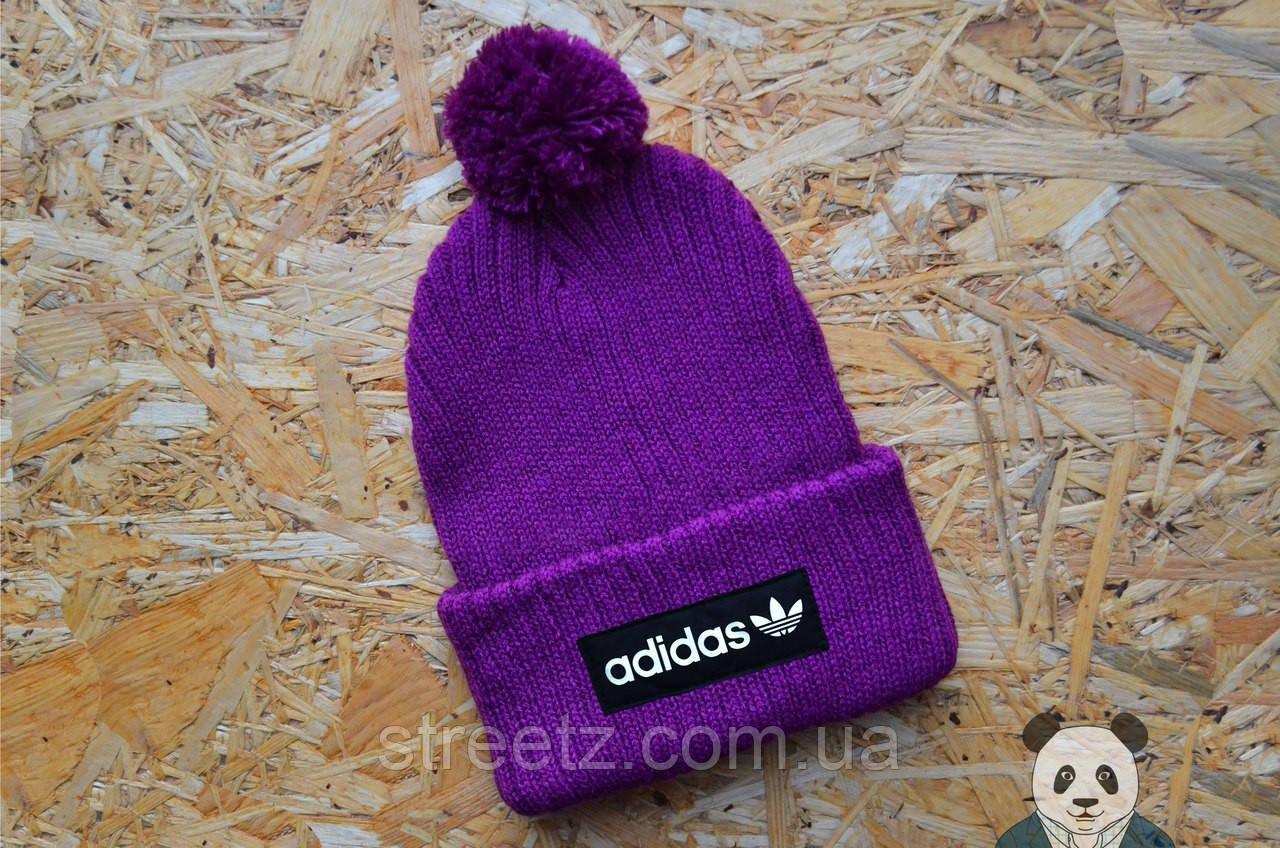 Зимняя шапка с бубоном Adidas / Адидас