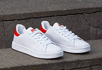 Мужски кроссовки адидас - Стен Смит, белые с красными вставками, материал - кожа, подошва - резина+полиуретан