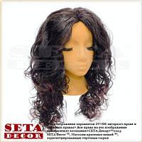 Парик с длинными кудрявыми волосами сливового цвета