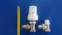 Комплект подключения радиатора ICMA угловой с термоголовкой 1/2