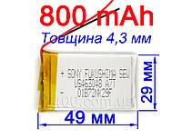 Аккумулятор 800мАч 442949 3,7в SONY универсальный для видеорегистратора, Bluetooth 800mAh 3.7v 4.4*29*49 мм