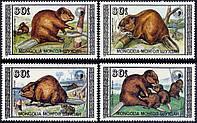 Монголия 1989 - животные - бобры - MNH XF