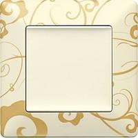 Розетки и выключатели бежевого цвета с золотым принтом – Ампир бежевый