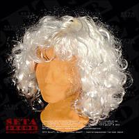 Парик белый кудрявый из искусственных волос карнавальный