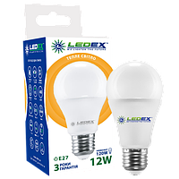 Светодиодная лампа LEDEX, 12W, E27, A60, 1140lm, груша, теплый свет 3000К, матовая
