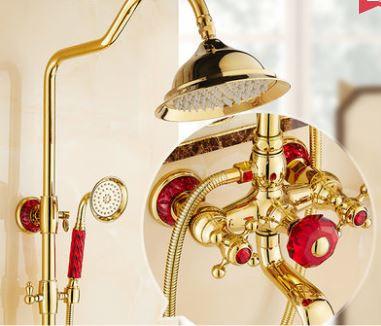 Душевая стойка со смесителем лейкой и верхним душем золото в ванную комнату