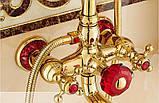 Душевая стойка со смесителем лейкой и верхним душем золото в ванную комнату, фото 3