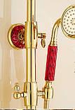 Душевая стойка со смесителем лейкой и верхним душем золото в ванную комнату, фото 4