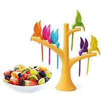 Декор стола Шпажки Птички на дереве 6 шт