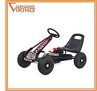 Карт детский железный, педальная машина, надувные колеса (черный)