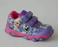 Детские кроссовки с мигалками для девочек р.22-25 Эльза, сказочно красивые кроссовки для принцесс