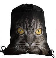 Сумка для сменной обуви Серый кот с желтыми глазами 7857-3