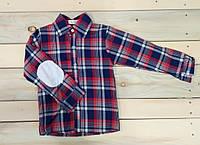 Клетчатая рубашка на мальчика с нашивками на локтях 110 см