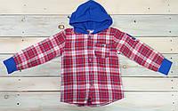 Клетчатая рубашка на мальчика с капюшоном 128 см, 134 см, 140 см