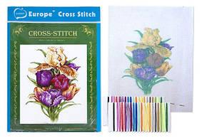 """Вышивка крестом """"Цветок"""" (20*28 см.) цветной фон, тонкие нитки"""