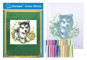 """Вышивка крестом """"Собачка"""" (20*28 см.) цветной фон, тонкие нитки"""