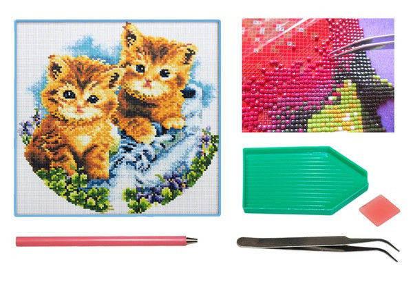 Мозаика алмазная 5D Два котенка 36*36 см., фото 2