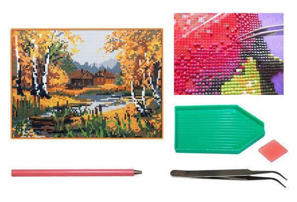 Мозаика алмазная 5D Осенний пейзаж 25*33 см., фото 2