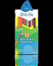 """Олівці кольорові двосторонні 12 шт/24 кольори """"MARCO"""" Colorite 1110-12CB"""