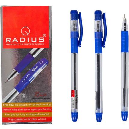 Ручка шариковая Radius Race синяя прозрачная с резинкой, 12 шт., фото 2