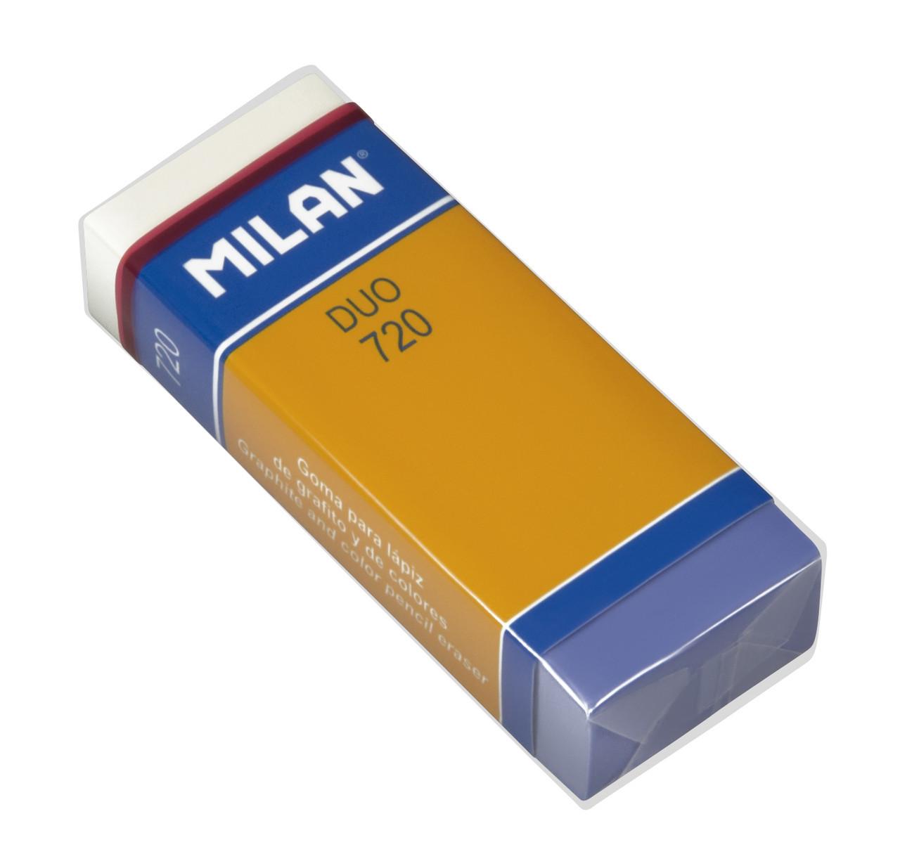 Ластик Milan 720 Nata Duo фиолетовый-розовый/прямоугольный (HB) 3*6 см.