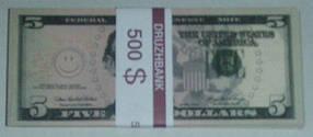 "Пачка грошей (сувенір) 009 Долари ""5"""