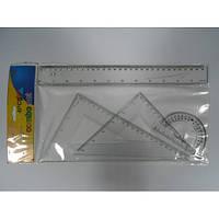 Набор линеек 8025 пластик (2 угольника+линейка 30 см.+транспортир)