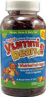 Витамины детские жевательные Hero Nutritionals Yummi Bears® Wholefood Fruit + Veggies  200 шт