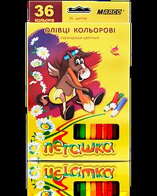 """Олівці кольорові 36 кольорів """"MARCO"""" Пегашка 1010-36CB"""