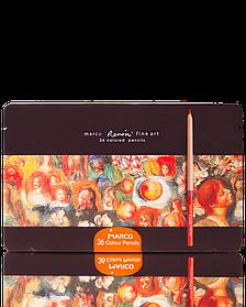 """Олівці кольорові акварельні 36 кольорів """"MARCO"""" Renoir в металевому пеналі FineART-36TN"""