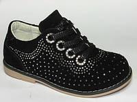 Детские кожаные ортопедические туфли для девочек р.24 стелька 15.5см черные в стразы на весну и осень