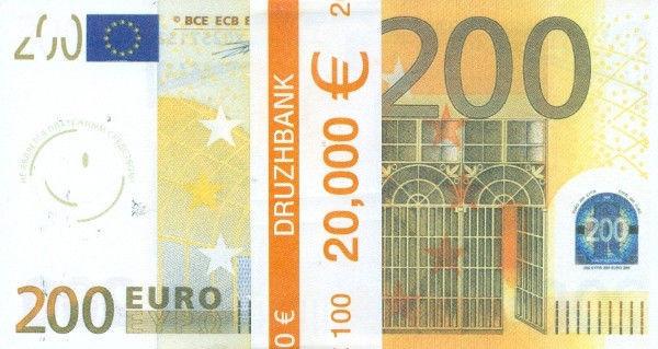 """Пачка грошей (сувенір) 006 Євро """"200"""""""