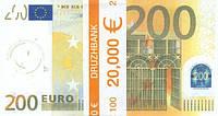 """Пачка денег (сувенир) 006 Евро """"200"""""""